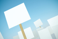 Blank protest banners
