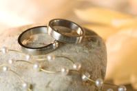 Wedding rings on stone