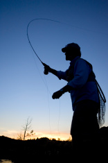 Fly Fishing at Sunset-vertical