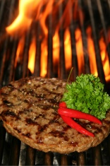 beef Steak burger and fire
