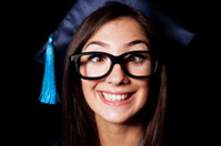 student woman cross-eyed look and smiling