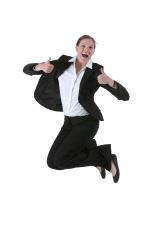 Business Woman Jump st...