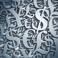 Interlocked world currency symbols