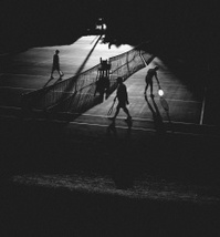 Tennis Players, Silhouettes, Twilight Court