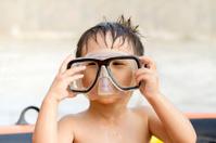 Boy with snorkel mask