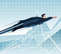 Superhero Businessman flying ready to work over chart