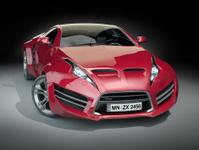 Red hybrid sports car