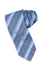 Striped blue, white and orange tie