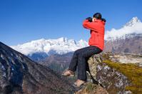 Woman trekking  in Himalayas, Nepal