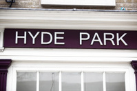 Close up of Hyde Park Sign in London, UK