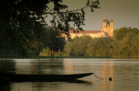 Evening beach on the Danube near Melk