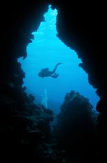 diver exiting cave