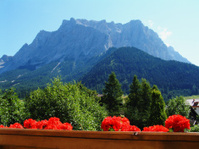 Alpine Mountain range from Hotel Balcony