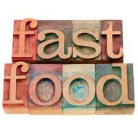 fast food in letterpress type