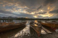Derwent rowing boats at sunset