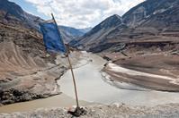 Blue Prayer Flag Indus Zanskar River Confluence