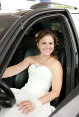bride at the wheel a car