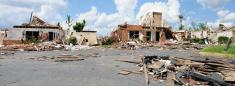 Panorama of tornado damage