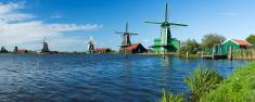 Traditional Dutch windmills in Zaanse Schans, The Netherlands