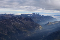 Chamonix valley in sunrise