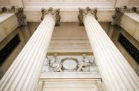 Columns of National Gallery at Trafalgar Square in London, Engla