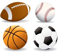 Football, baseball, basketball, soccer ball