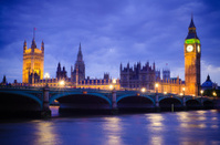 Houses of Parliament in London, England at night