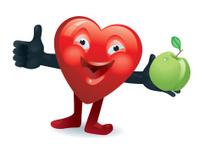 Happy heart holding an apple