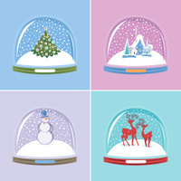 Set of Snow Globes