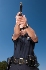 Police Officer Aiming Gun