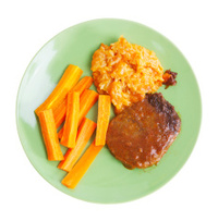 Salisbury Steak with Rice and Carrots