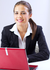 businesswoman browsing internet at office