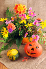 halloween pumpkin with bunch of flowers in autumn time