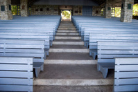 Outdoor church pews