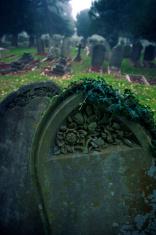 Dark Mossy Tombstone Stands in Misty Graveyard