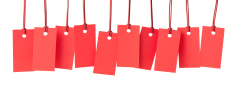 Ten blank red price labels