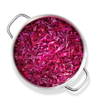 Red cabbage in a pan