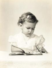 Vintage Sepia Toddler Girl Formal Portrait