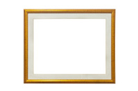 Isolated wood picture photo with cream frame
