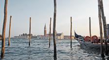 Venetian Gondolas and San Giorgio Maggiore Church