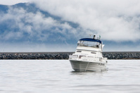 Cabin cruiser at Runde Island (Norway)