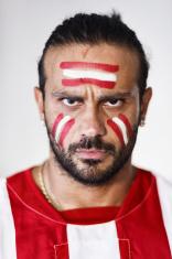 angry soccer fan portrait