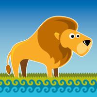 Illustrated comic lion.