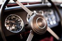 Steering Wheel Interior of a Retro Vintage Car