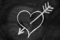 Heart shape on blackboard