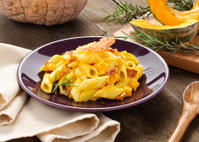 Penne with bacon and pumpkin