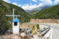 Memorial Roadside On Albanian Mountain