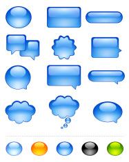 Speech Bubble, Dialog, Caption Box and Web Button Icon Set