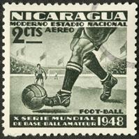 Nicaraguan football (soccer) postage stamp