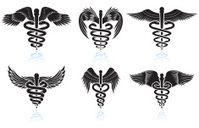 Medical Caduceus black & white royalty free vector icon set